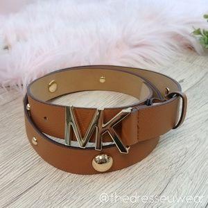 Michael Kors Pebbled Leather Lug Brown Belt